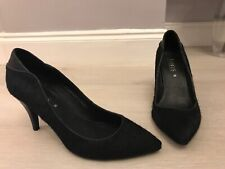 Jones Bootmaker Black Leather & Pony Hair Pointy Court Shoes Size 5