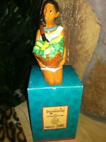 POCAHONTAS WITH CORN VINTAGE CERAMIC PORCELAIN FIGURINE BANK BY ENESCO, NEW MIB