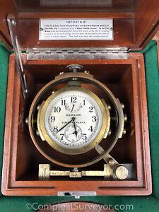 1940's Era Hamilton Gimballed Chronometer Watch Model 22 Hamilton Clock - ARMY!!