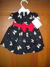 NWT CARTERS NEWBORN GIRLS LINED BLACK & BOWS DRESSY DRESS & DIAPER COVER HOLIDAY