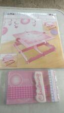 CHRISTENING PINK BOOTIES Cake stand & Cake Decorating Kit  Tableware Sealed