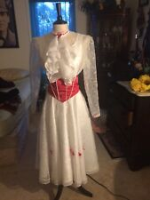 "Mary Poppins ""Jolly Holiday"" Dress Costume with Stockings, Hat, and Sash"