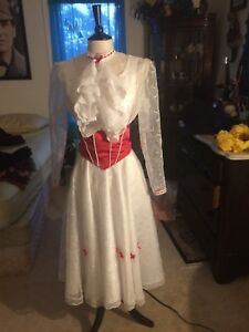 """Mary Poppins """"Jolly Holiday"""" Dress Costume with Stockings, Hat, and Sash"""