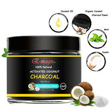 Natural Activated Coconut Charcoal Teeth Whitening Powder Stains Remove Mint