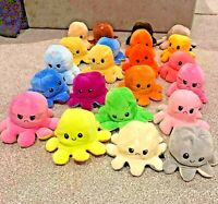 Cute Double-Sided Flip Reversible Octopus Plush Toys Funny Animals Doll Gift UK