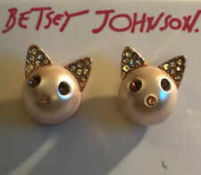 Gold Cat Stud Earrings With Crystals Betsey Johnson Pearl Critters Pink & Rose
