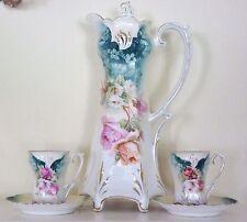 RSP Prussia Chocolate Set Pot Cups Mold 642 Pink Roses Antique Art Nouveau China