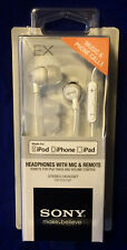 Sony Headphones with Mic & Remote for iPod iPhone iPad White Stereo DR-EX12IP