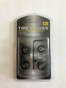 Universal Lockable/Anti Theft Wheel Valve Stem Cap Set For Lexus Black