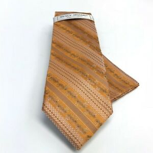 Stacy Adams Men's Tie & Hanky Gold Silver Charcoal Brown Hand Made Microfiber