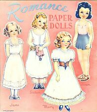 Vintge 1940s Helen Page Romance Paper Doll ~Pretty Laser Repro~Org Sz Uncut~Lo P