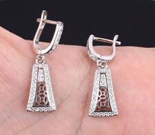 WHITE DOTS TOPAZ .925 SOLID STERLING SILVER EARRINGS #21532