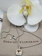 David Yurman Sterling Silver petite Albion w/Morganite &diamond pendant necklace