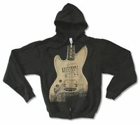 Nirvana Guitar Image Black Zip Up Sweatshirt Hoodie New Official