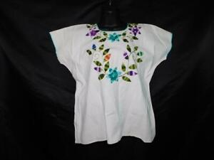 Mexico M White Blue Purple Embroidery Flower Peasant Top Short Sleeve Shirt Boho