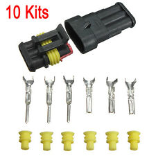 10 Kits 3 Pin Way Car Sealed Waterproof Electrical Wire Auto Connector Plug Set