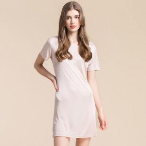 Women's  50% Silk 50% Viscose Short Sleeve Full Slip  Nightdress Nightgown XS327