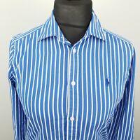 Ralph Lauren Womens Shirt Blouse Size 10 Long Sleeve Blue Regular Striped Cotton