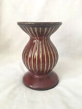 Home Interiors Red Striped Candle Holder Large Single Burgundy with Gold Stripes