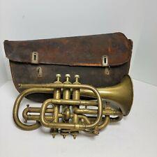"Antique J.W. Pepper Brass 13"" Cornet/Bugle with Leather Case Philadelphia"