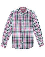 TED BAKER SHINOLI Green Pink Checked Long Sleeve Slim Dress Shirt ~ Sz 4 L ~ NEW