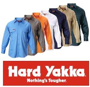 HARD YAKKA - MENS COTTON DRILL LONG SLEEVE WORK SHIRTS - Y07500 *inc HI VIS