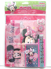 Disney Minnie Mouse 11 Piece Stationery Set Notebook Ruler Pencil Eraser NWT