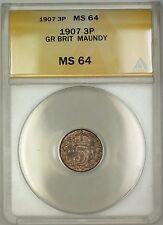 1907 Great Britain King Edward VII Maundy 3P Three Pence Silver Coin ANACS MS-64