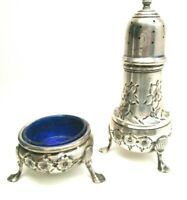 Antique B and M Sterling Silver Pepper Shaker and Salt Dish #43 Hand Chased