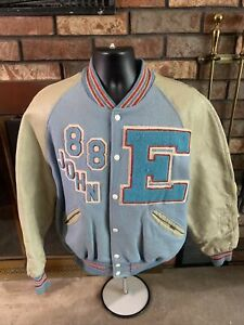 Vintage Eau Claire North Huskies Leather Letterman Varisity Snap Jacket Mens 44