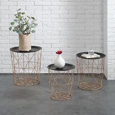 [en.casa]® Panier en métal table d'appoint de salon 3 pièces kit déco cuivreux