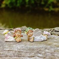 Set of Two Laying Flower Fairy Resin Garden Ornaments Outdoor Fairies
