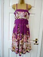 NEW LOOK Ladies Size 10 Purple Multi Floral Pockets Strappy Cotton A Line Dress