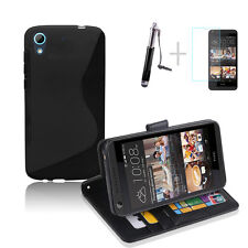 BLACK Wallet 4in1 Accessory Bundle Kit TPU Case Cover For HTC Desire 626