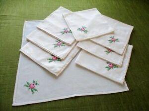 Vintage napkins-Set of 8-Hand embroidered pink rose decoration