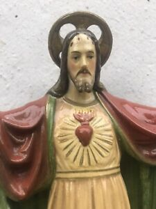 Antique Vintage Chalk Jesus Statue - Sacred Heart - Christianity - Hand Painted