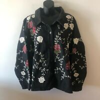Denim & Co Black Floral Embroidered Denim Jean Jacket Button Front Women's 3X