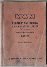 MWM Klein-dieslemotoren AKD 112 manual de instrucciones y piezas de recambio lista