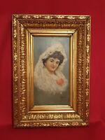 Portrait De Femme Au Voile De Dentelle, huile sur panneau XIX ème s
