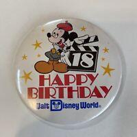 "Walt Disney World 18 Happy Birthday Button Pin Back Mickey Mouse 3"""
