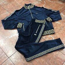 Men's Navy | Gold Velour Fashion Tracksuit