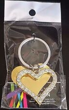 BROTHER SISTER DESIGN STUDIO Crystal-Accented Gold Dangle Heart Key Chain