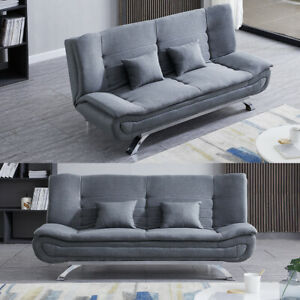 Double Sleeper Sofa Bed 3 Seaters Fabric Leather Sofa Bed Couch Settee Recliner