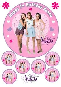 """Edible Disney Violetta Personalised 7.5"""" & A4 Birthday Cake & Cupcake Toppers"""