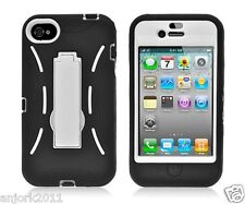 Apple iPhone 4 4S S Armor Hybrid Case Skin Cover w/ Kickstand Black White