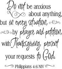 Philippians 4:6 Scripture Vinyl Lettering Words Wall  Decal Decor Quote