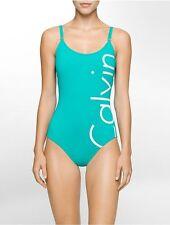 NWT Calvin Klein Swimsuit Bikini one 1 piece Size 14 Logo Jade