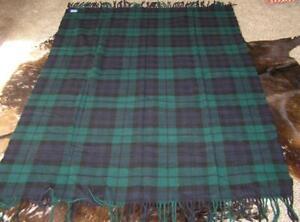 Pendleton 100% Wool Motor Robe Stewart Green Tartan Plaid Fringe Blanket 52x79