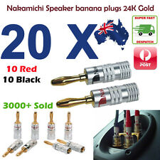 20 Pcs Nakamichi 24K Gold Plated Speaker Cable Wire Connector 4mm Banana Plug