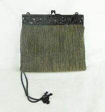 Vintage purse clutch handbag metalic silk mesh cast iron decor closer India